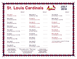 July 2018 St. Louis Cardinals Printable Schedule