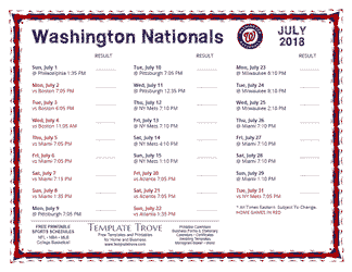 July 2018 Washington Nationals Printable Schedule