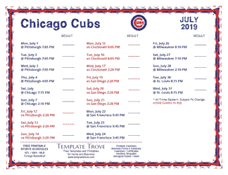 July 2019 Chicago Cubs Printable Schedule