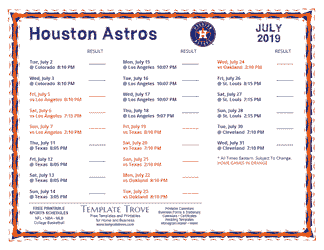 July 2019 Houston Astros Printable Schedule