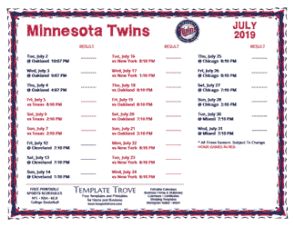July 2019 Minnesota Twins Printable Schedule