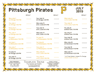 July 2019 Pittsburgh Pirates Printable Schedule