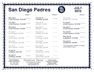 July 2019 San Diego Padres Printable Schedule