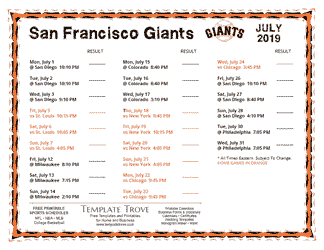 July 2019 San Francisco Giants Printable Schedule