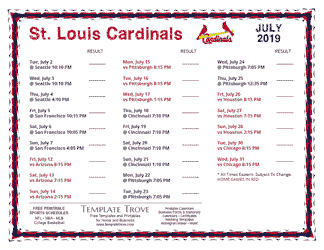 July 2019 St. Louis Cardinals Printable Schedule