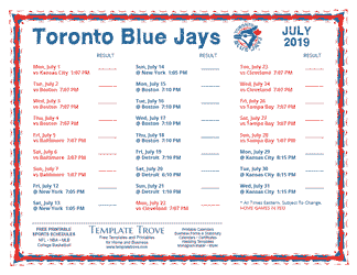 July 2019 Toronto Blue Jays Printable Schedule