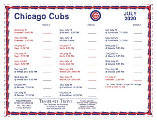 July 2020 Chicago Cubs Printable Schedule
