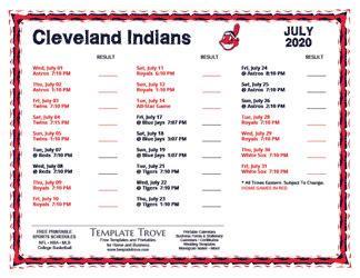 July 2020 Cleveland Indians Printable Schedule