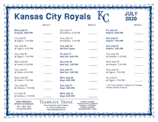 July 2020 Kansas City Royals Printable Schedule