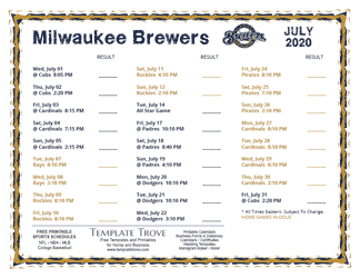 July 2020 Milwaukee Brewers Printable Schedule
