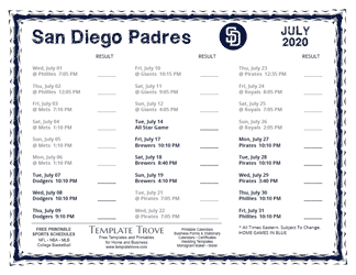 July 2020 San Diego Padres Printable Schedule