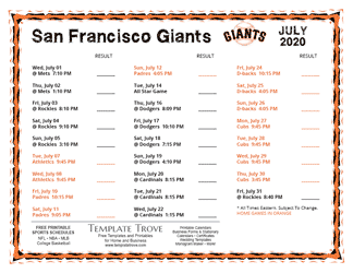 July 2020 San Francisco Giants Printable Schedule