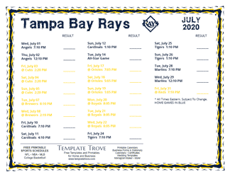 July 2020 Tampa Bay Rays Printable Schedule