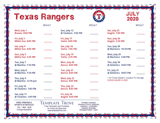 July 2020 Texas Rangers Printable Schedule