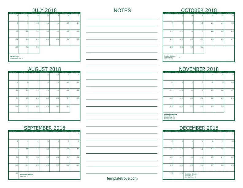 six month calendar 2018