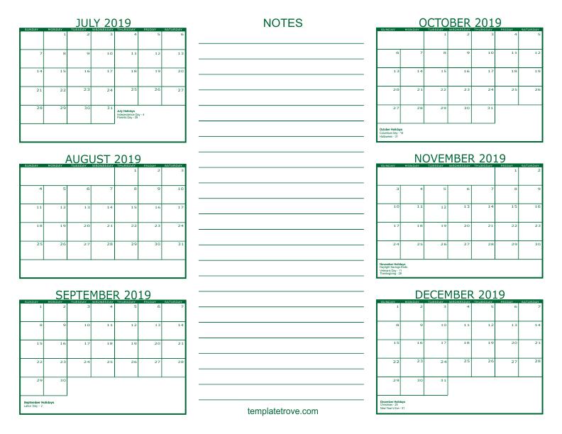 6 Month Calendar 2019 6 Month Calendar   2019