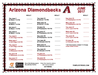 June 2017 Arizona Diamondbacks Printable Schedule