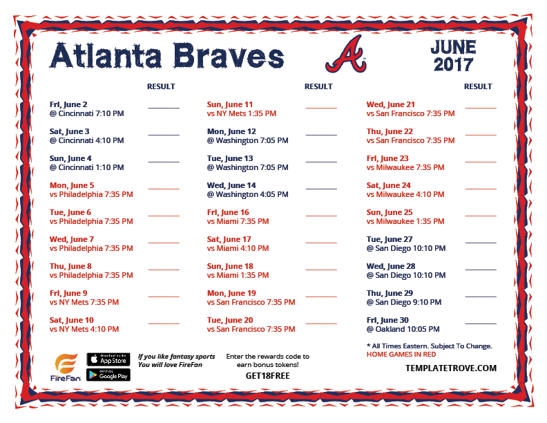 Clever image pertaining to atlanta braves schedule printable