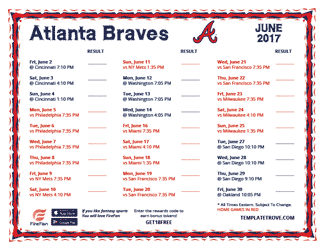 June 2017 Atlanta Braves Printable Schedule