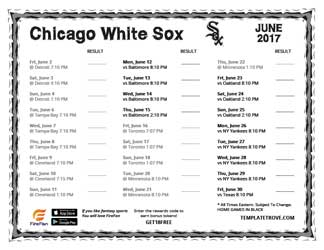 June 2017 Chicago White Sox Printable Schedule