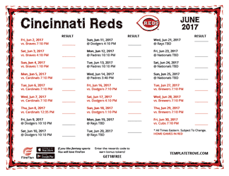 June 2017 Cincinnati Reds Printable Schedule
