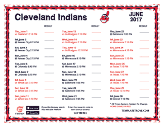 June 2017 Cleveland Indians Printable Schedule