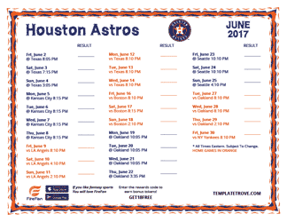June 2017 Houston Astros Printable Schedule