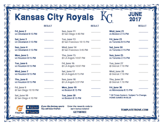 June 2017 Kansas City Royals Printable Schedule