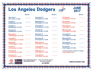 June 2017 Los Angeles Dodgers Printable Schedule