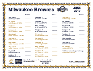 June 2017 Milwaukee Brewers Printable Schedule