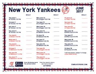 June 2017 New York Yankees Printable Schedule