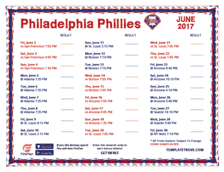 June 2017 Philadelphia Phillies Printable Schedule