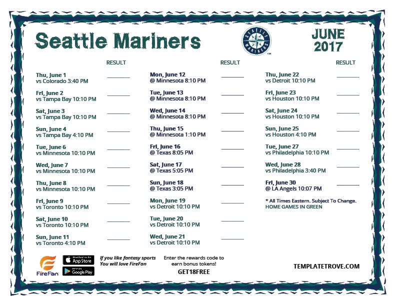 Old Fashioned image throughout mariners printable schedule