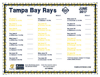 June 2017 Tampa Bay Rays Printable Schedule