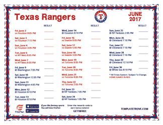 June 2017 Texas Rangers Printable Schedule