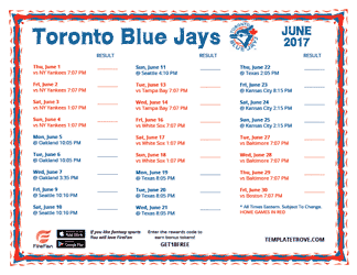 June 2017 Toronto Blue Jays Printable Schedule