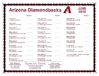 June 2018 Arizona Diamondbacks Printable Schedule