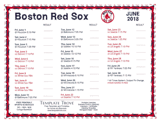 June 2018 Boston Red Sox Printable Schedule