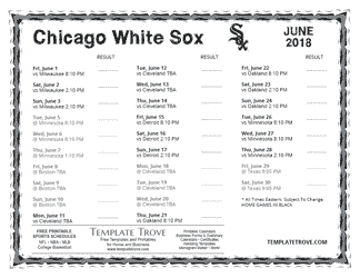 June 2018 Chicago White Sox Printable Schedule