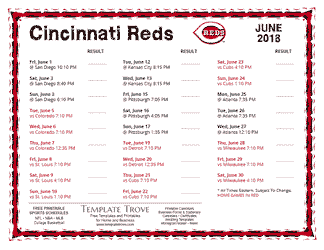 June 2018 Cincinnati Reds Printable Schedule