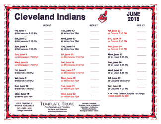June 2018 Cleveland Indians Printable Schedule