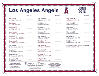 June 2018 Los Angeles Angels Printable Schedule