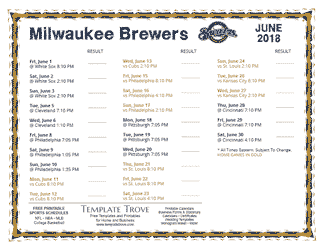 June 2018 Milwaukee Brewers Printable Schedule