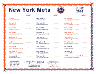 June 2018 New York Mets Printable Schedule