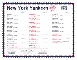 June 2018 New York Yankees Printable Schedule