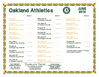 June 2018 Oakland Athletics Printable Schedule