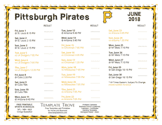 June 2018 Pittsburgh Pirates Printable Schedule