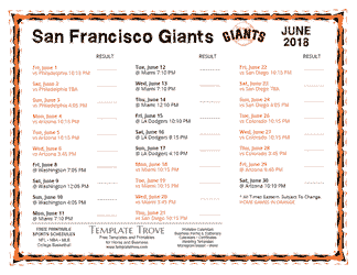 June 2018 San Francisco Giants Printable Schedule