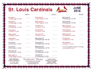June 2018 St. Louis Cardinals Printable Schedule