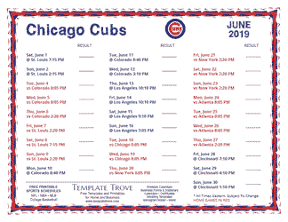 June 2019 Chicago Cubs Printable Schedule